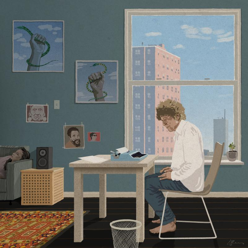 Bob Dylan writing a song