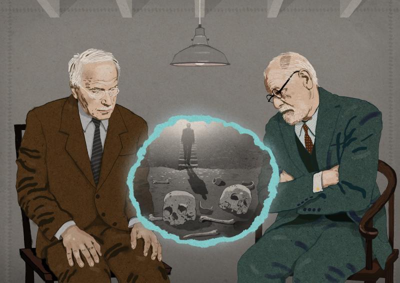 Carl Jung and Sigmund Freud discussing a dream