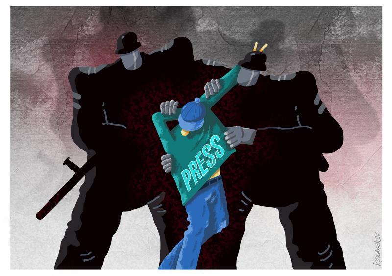Police, journalist, democracy, lawlessness, repression