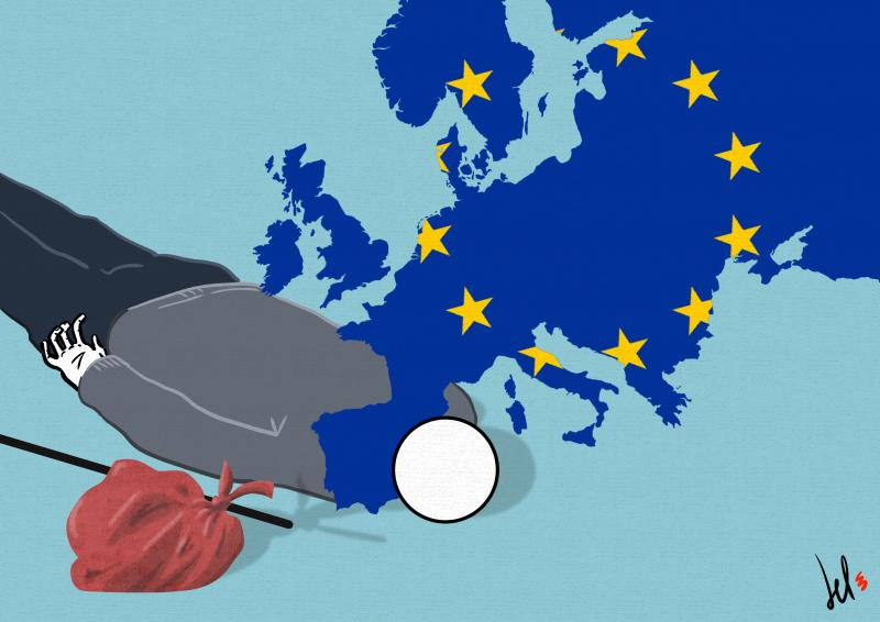 cartoon by emanuele del rosso about migrants and europe