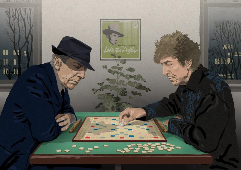 Leonard Cohen and Bob Dylan playing scrabble