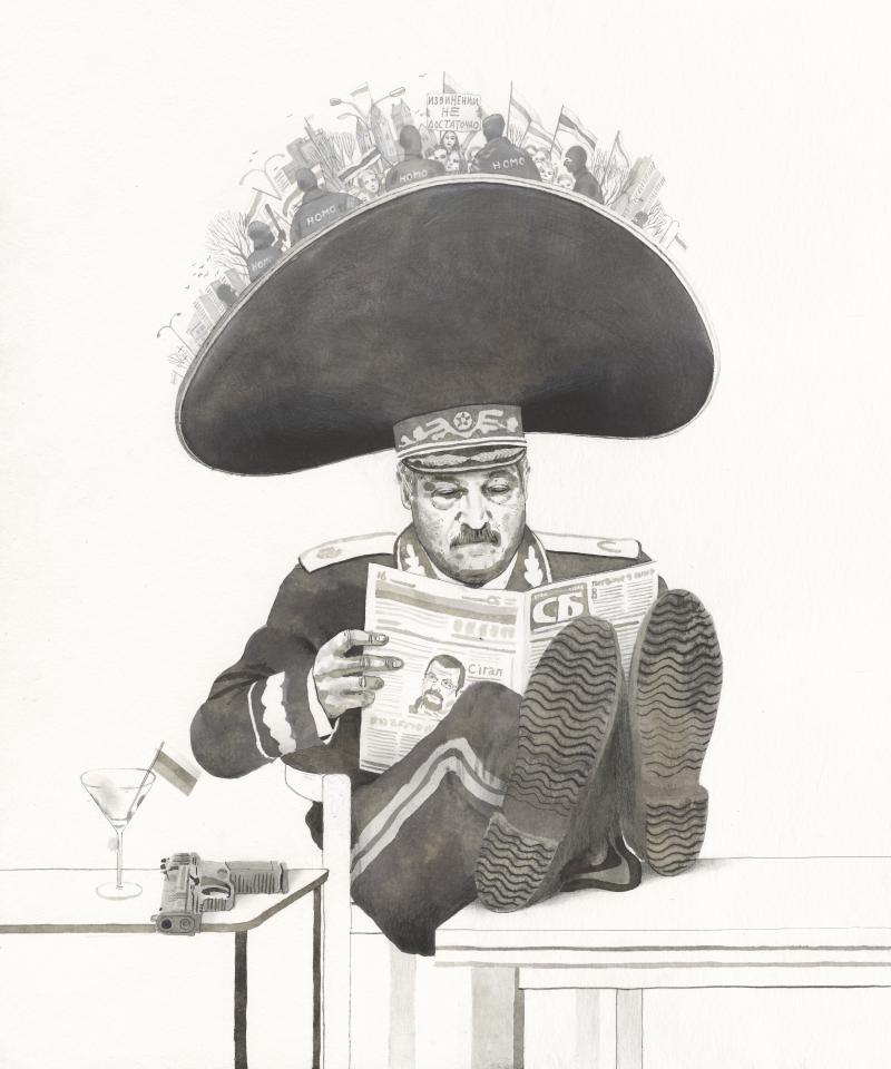 Alexander Lukashenko reading a newspaper and ignoring protesters