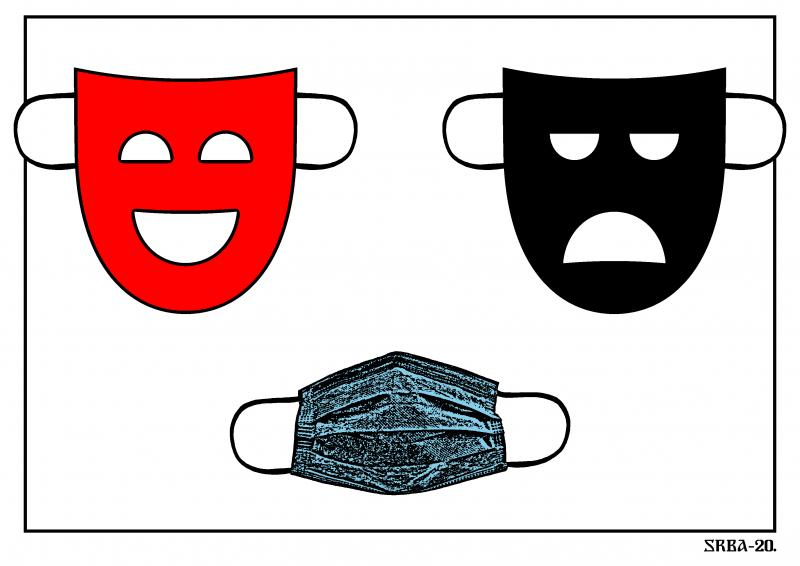 Symbols of theater, masks of comedy and tragedy and a symbol of a new reality, a protective mask.