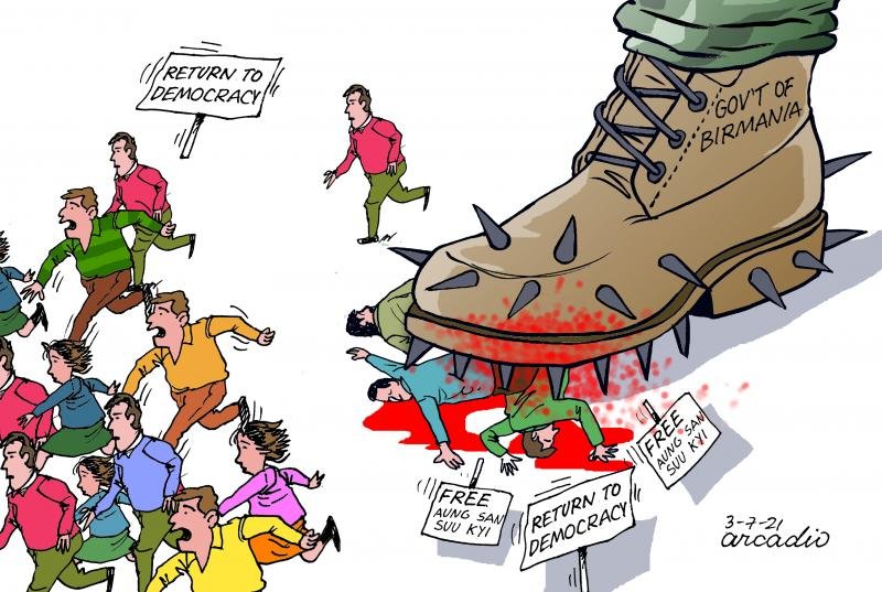 Cartoon about the military coup in Myanmar