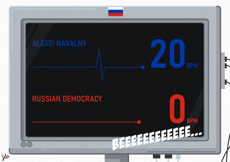 cartoon by emanuele del rosso about navalny and putin