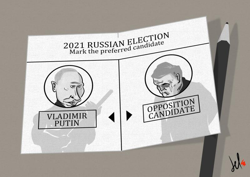 cartoon by emanuele del rosso about putin and russian elections