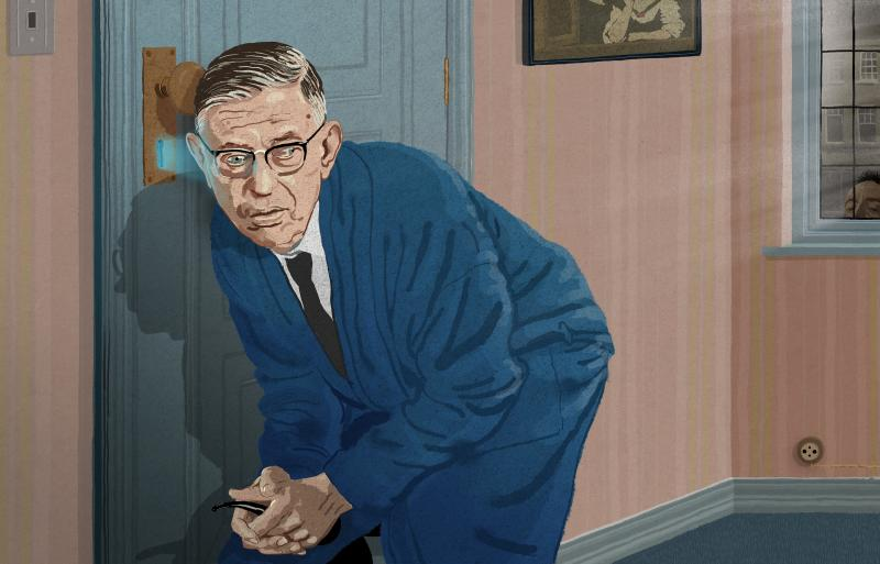 Jean-Paul Sartre looking through a keyhole