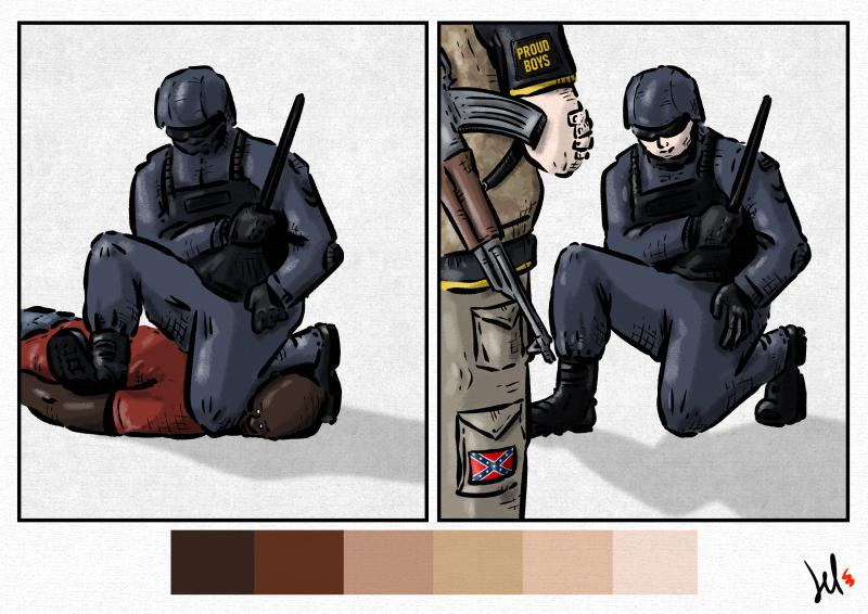 cartoon by emanuele del rosso about police racism