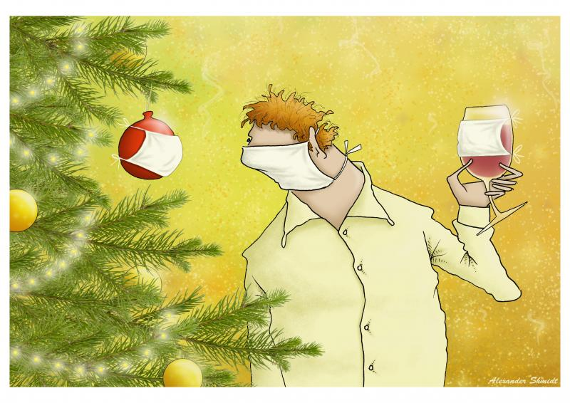 Christmas and New Year in a pandemic. A man stands near a Christmas tree wearing a mask. Mask I with a Christmas tree ball, mask on a glass of wine.