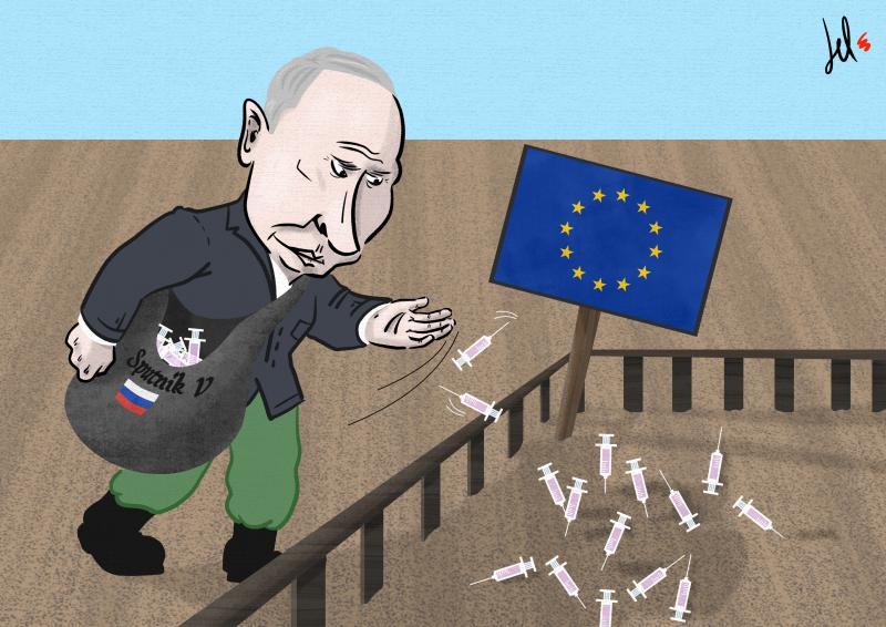 cartoon by emanuele del rosso about sputnik v