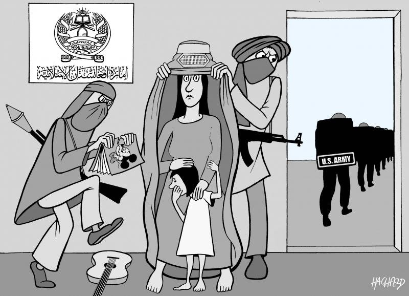 Cartoonabout the US leaving Afghanistan