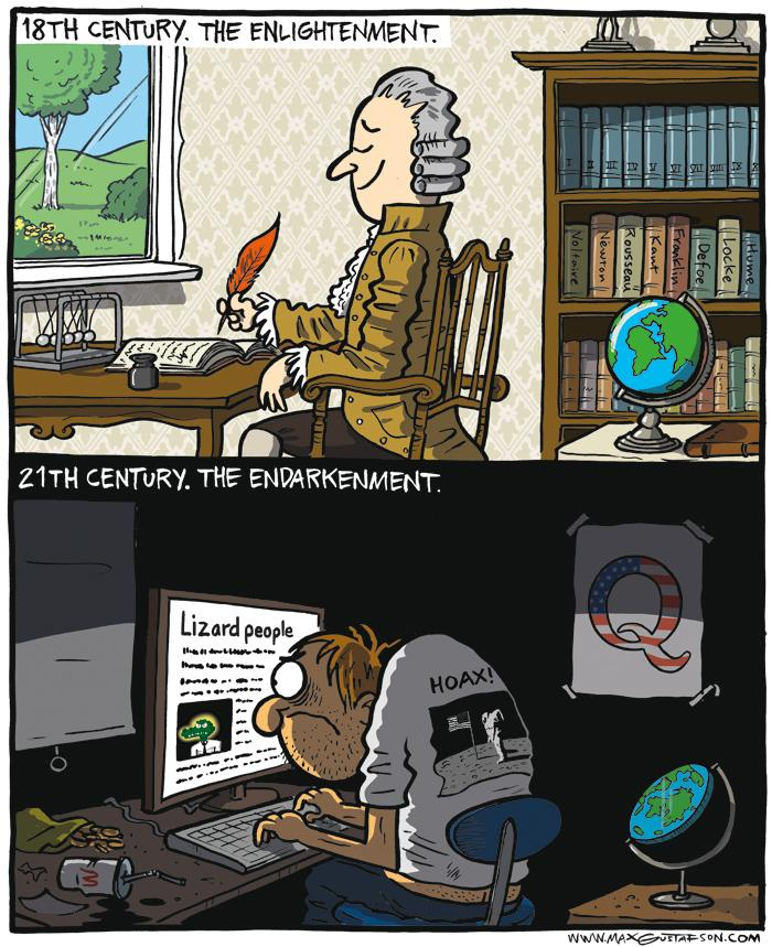 Cartoon on stupid conspiratorial beliefs