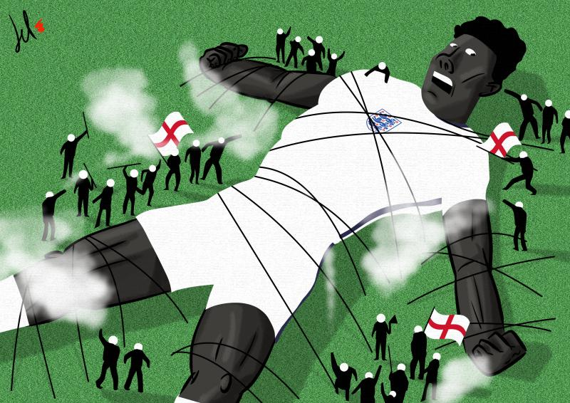 cartoon by emanuele del rosso about racism and soccer