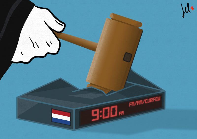 cartoon by emanuele del rosso about dutch curfew