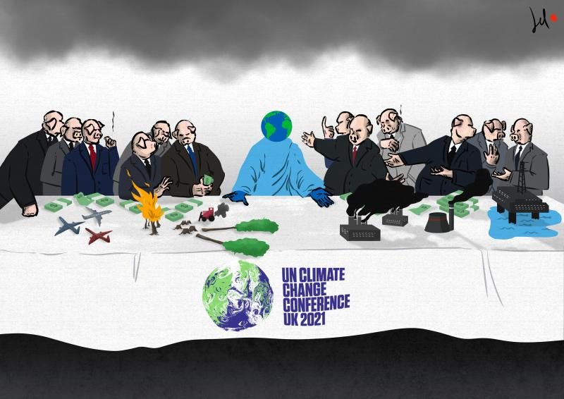 cartoon by emanuele del rosso about climate change and cop26