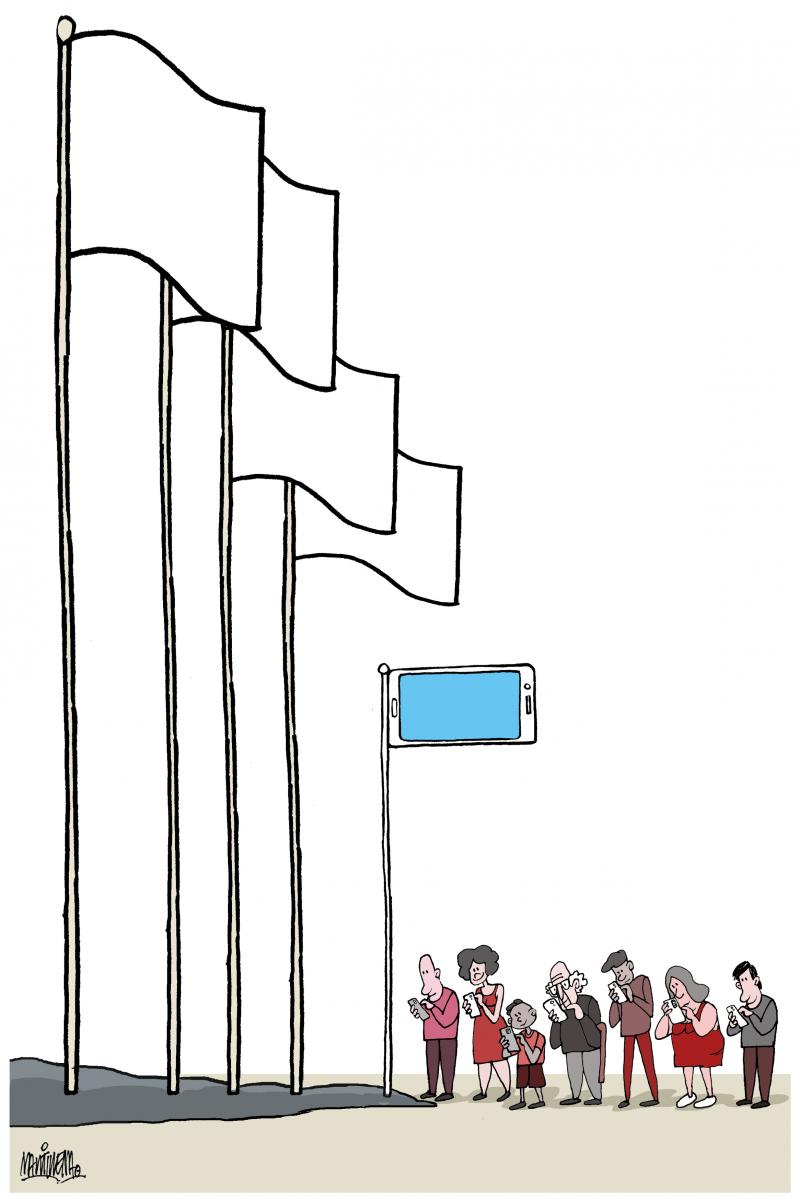 The mobile phone as a flag