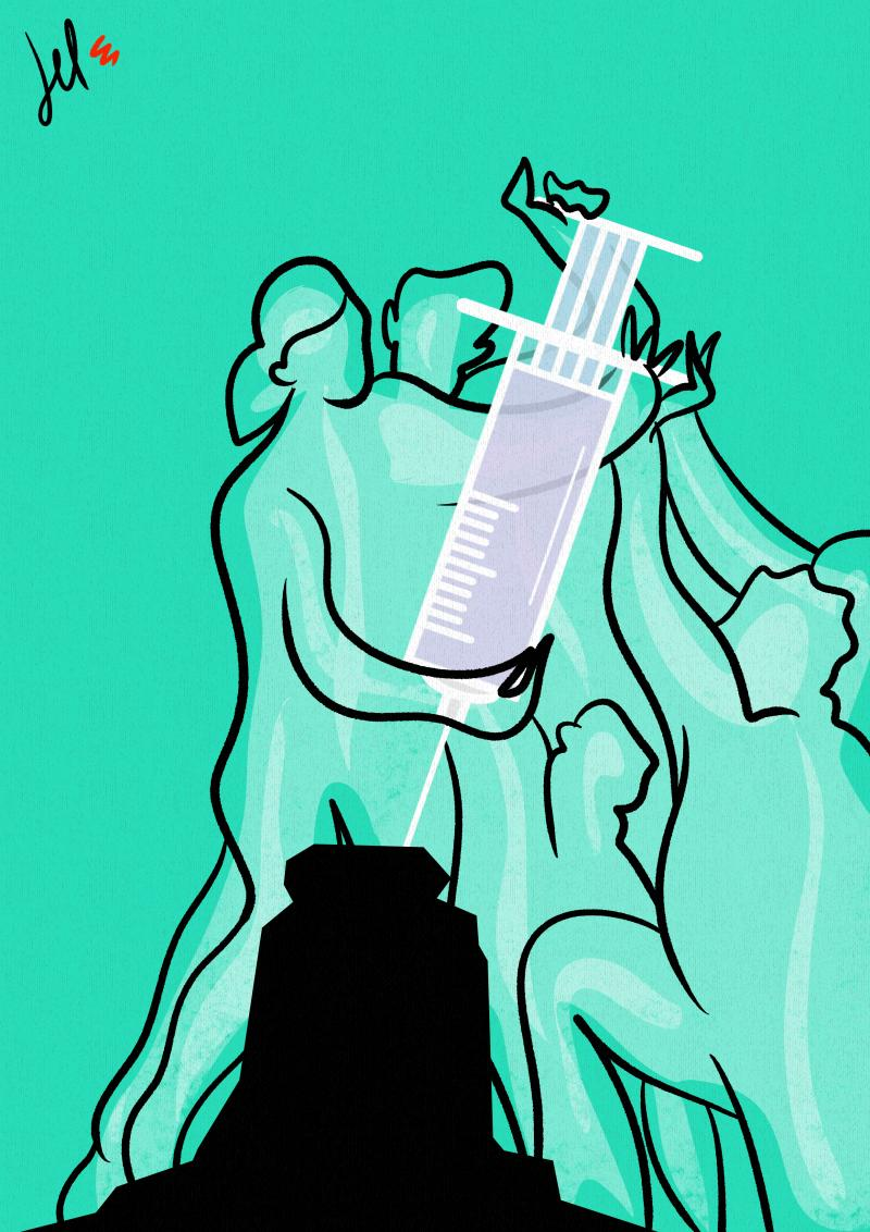 cartoon by emanuele del rosso about vaccine