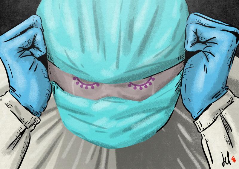 cartoon by emanuele del rosso about coronavirus