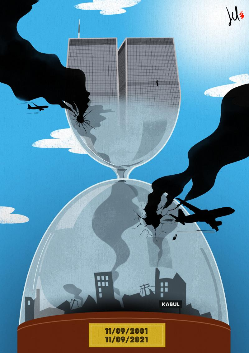 cartoon by emanuele del rosso about twin towers