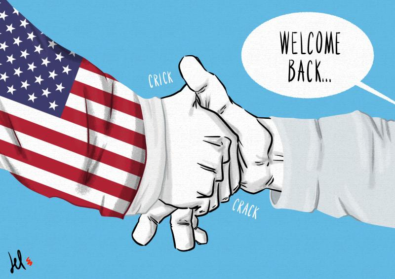 cartoon by emanuele del rosso about USA comeback