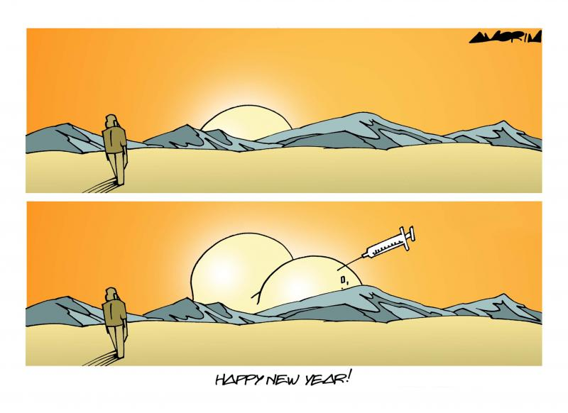 Cartoon about the new year