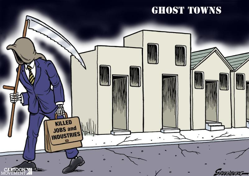 Cartoon about ghost towns