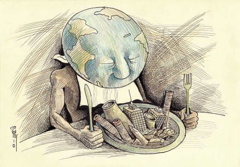 Cartoon about the earth and industry