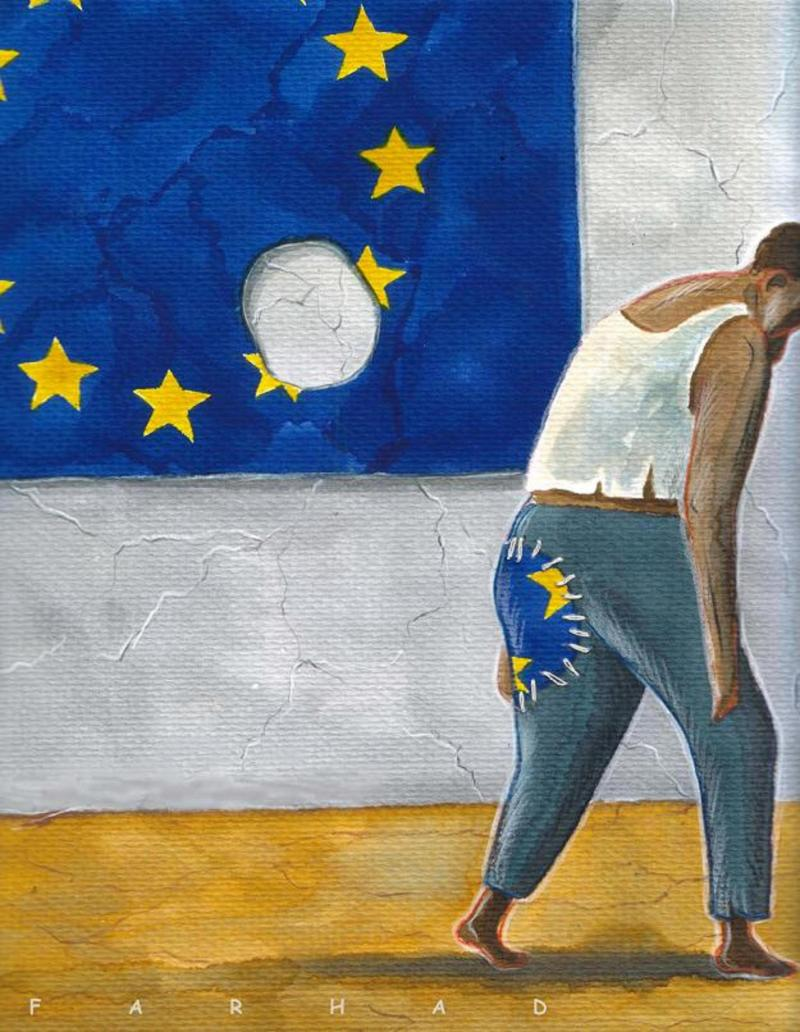 Cartoon about Europe and development aid