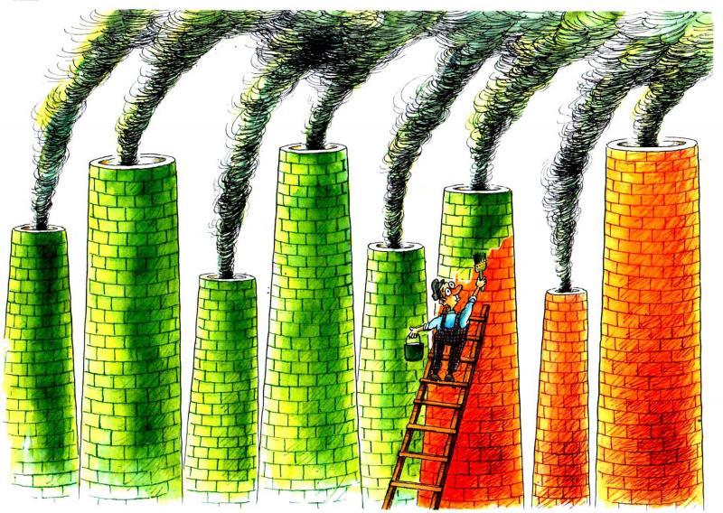 Cartoon about greenwashing