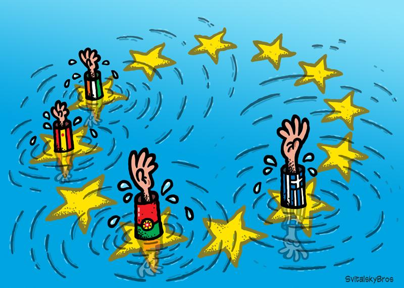 Cartoon about the crisis in Europe