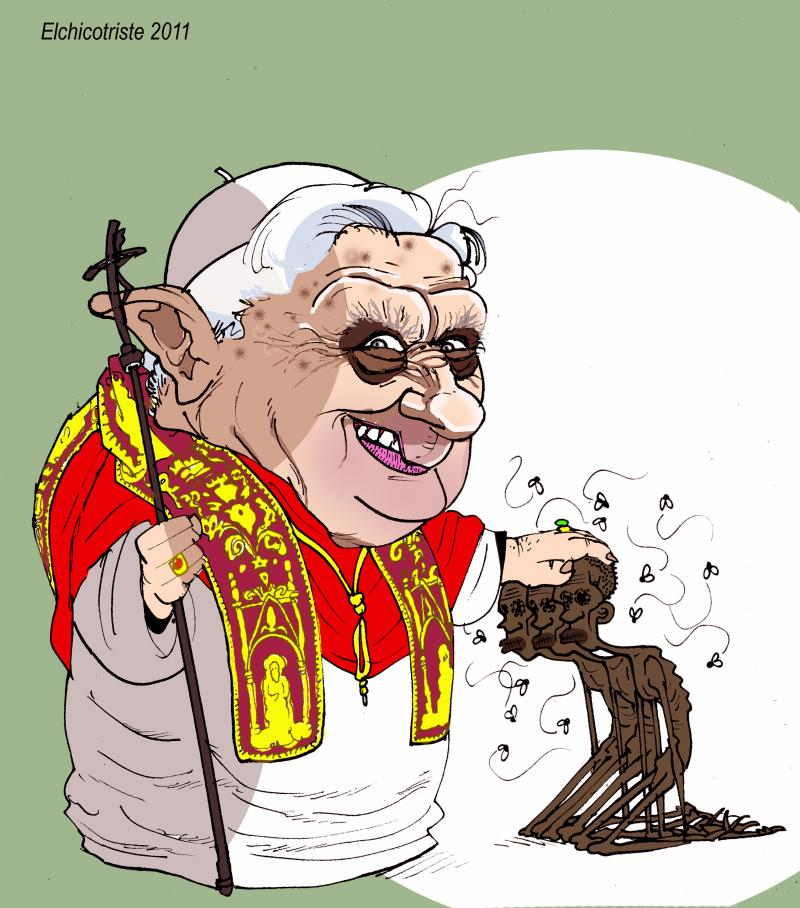 Cartoon about the pope in Africa