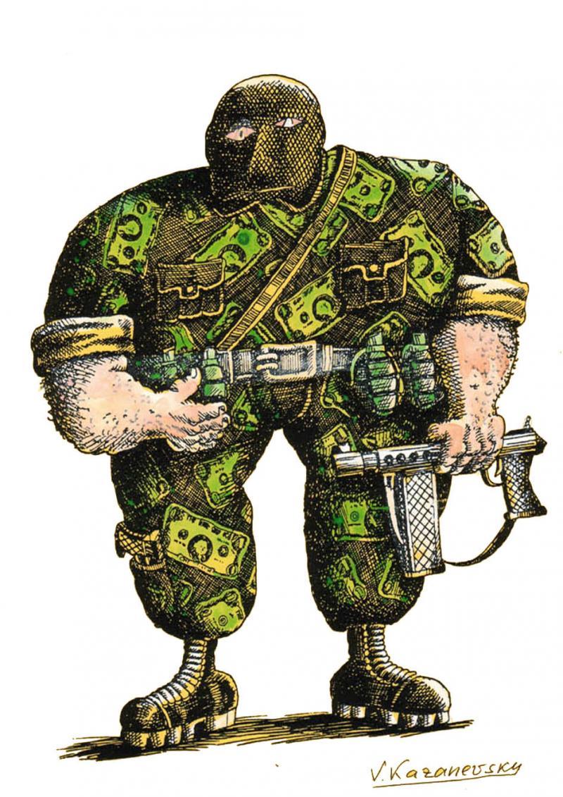 Cartoon about war and money