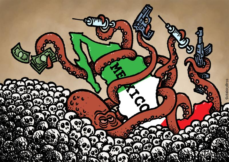Cartoon about the drug war in Mexico