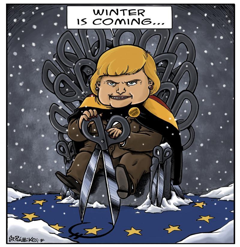 Cartoon about Angela Merkel