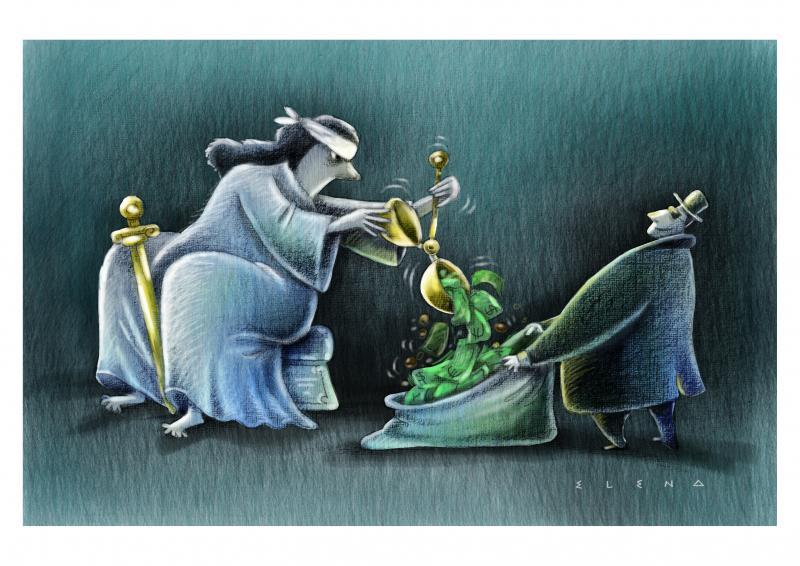 Cartoon about justice and money