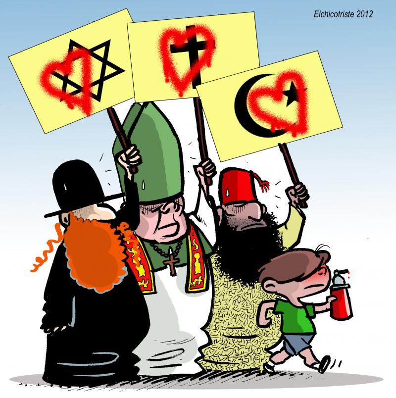 Cartoon about religions and tolerance