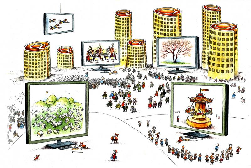 Cartoon about virtual reality