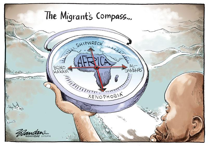 Cartoon about Africa and migration