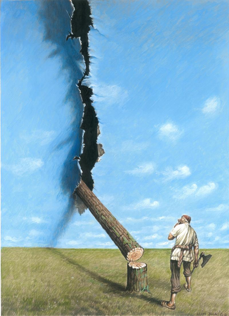 Cartoon about man and nature