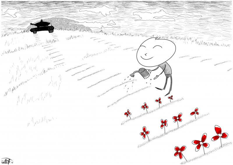 Cartoon about reconstruction after war