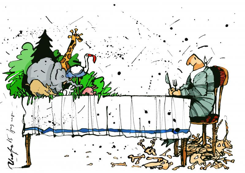 Cartoon about humanity and nature