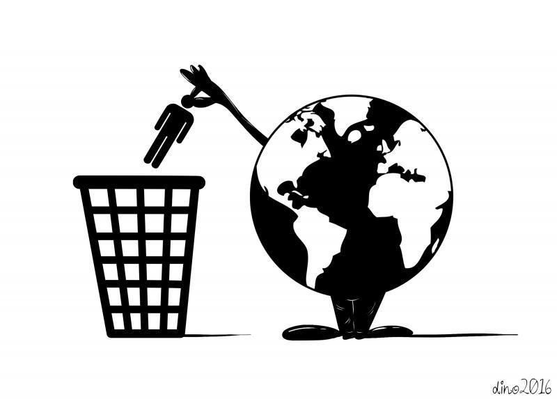 Cartoon about waste