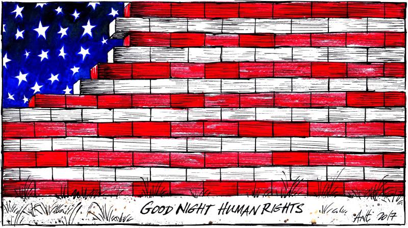 Cartoon about human rights in the USA