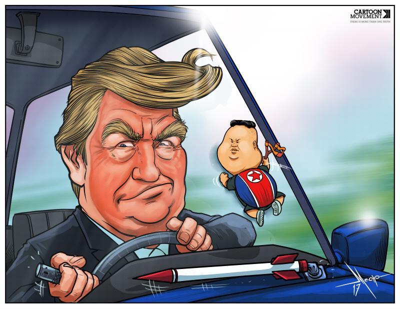 Cartoon about Trump and Kim Jong-un