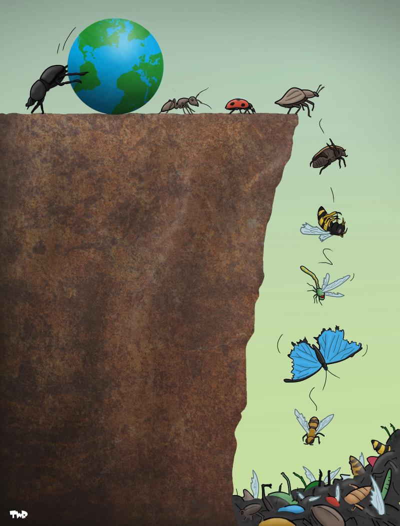 Cartoon about the extinction of insects