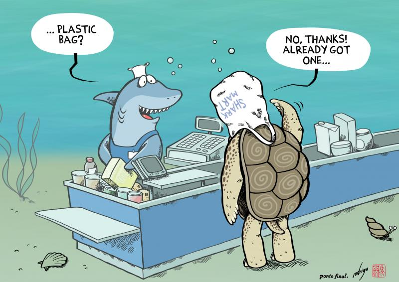 Cartoon about oceans an plastic