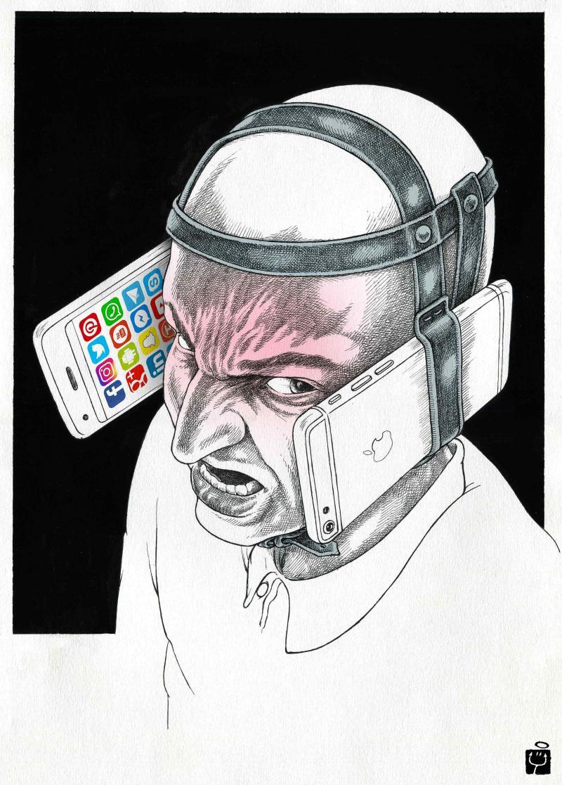 Cartoon about smarphones