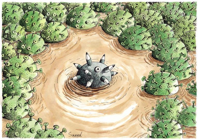 Cartoon about journalism and corona