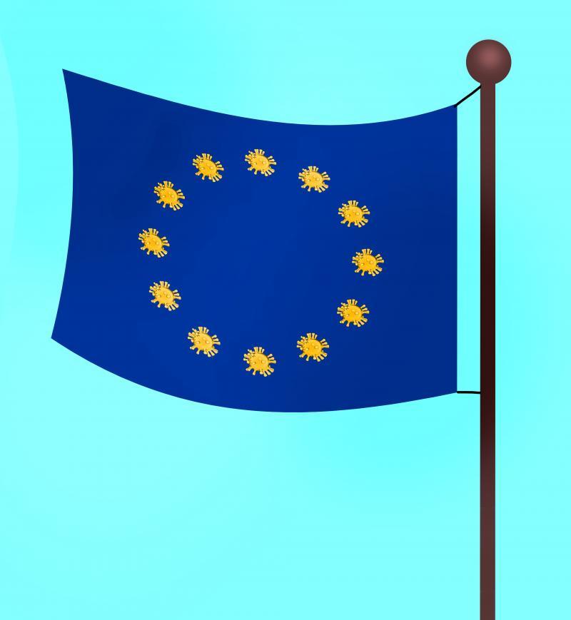 European flag with corona virus replacing the stars