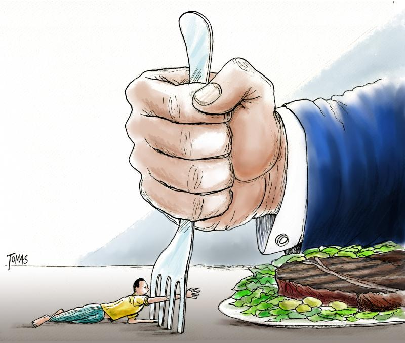 Cartoon about poverty and hunger